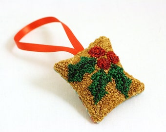 Holly Christmas Ornament. Punch Needle Embroidery. Winter, Holiday Home Decor. Red, Green, Gold. Maine Balsam Fir.