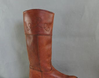 80s Riding Boots, Womens Etienne Aigner Brown Leather Tall Riding Boots, Western Boots, Designer, Knee High Boots, Boho Boots, US Size 8.5