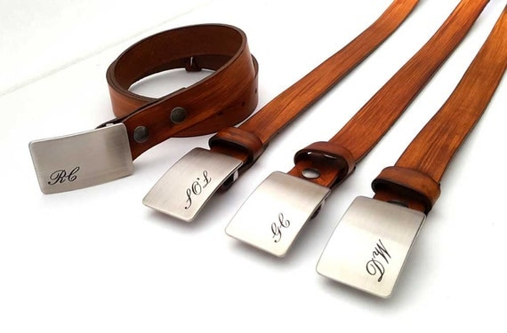 Groom ~ Groomsmen Monogrammed Buckle & Belt Personalized Customized Etched w/Custom Leather Snap Belt, Engagement Gift for Bridal Party Gift