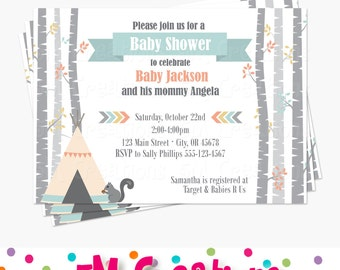 Tribal Baby Shower Invitation - Woodland Baby Shower Printable Invitations - Squirrel Tree Arrow Teepee Printable Invite -Boy Baby Shower