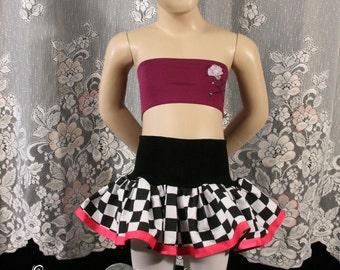 Speed racer mini skirt girls tutu topper black white pink race run costume nascar checkered flag child - You chose size - Enchanted SOTMD