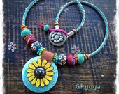Reserve for DA. Sunshine SUNFLOWER Necklace Boho Leather necklace FLOWER Hippie Turquoise Cowgirl Statement jewelry womens jewelry GPyoga