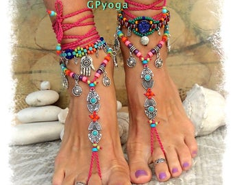 Hot Pink BIKINI BAREFOOT sandals Tribal Ibiza summer Toe Anklets crochet Sandal Beach Garden Wedding Colorful Cowgirl Foot jewelry GPyoga