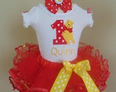 Winnie the Pooh Birthday Outfit- Personalized Onesie/T-Shirt/Tutu and Headband- 1st Birthday Outfit-Disney 1st Birthday