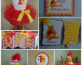Winnie the Pooh 1st Birthday Petite Birthday Party Package Disney-One banner, birthday hat, Pooh banner