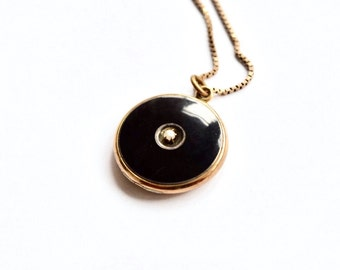 Antique Victorian Locket Gold Filled Onyx and Pearl c.1880