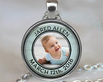 Custom baby necklace, new baby pendant Father's Day gift for Dad custom portrait pendant new mom gift personalized key chain key ring