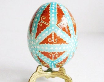 Turquoise and Brown egg shell hand painted batik Ukrainian Easter egg summer birthday gift ideas for moms that love to decorate for holidays