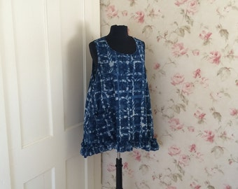 Indigo Blue Cotton Tank Tunic Sleeveless Top Shirt Ruffled Tank Pocket Prairie Lagenlook  One Size