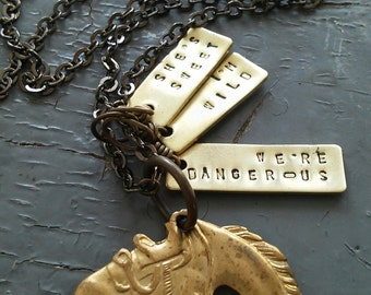 Sweet Wild & Dangerous - custom stamped tag, western cowboy charm tags, sealed link chain necklace