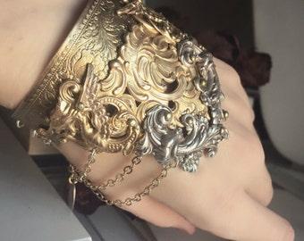 Silver & Brass Cuff - Bracelet - Gold - Fantastic Beasts - Dragon - Fantasy Winter Wedding - Holidays - December - Christmas