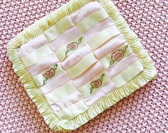 Vintage silk hankie keeper/Vintage Bridal/Pastel colors/Ribbonwork