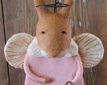 Primitive Easter GiftsPrimitive Easter Bunny Angel, OOAK, handmade paper mache, Primitiive Easter Rabbit,Bunny Figurine, Prio
