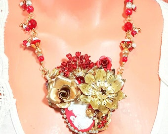 Red Collage Necklace,Roses, cameo