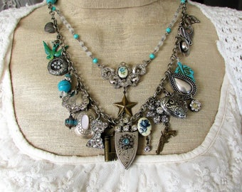 Get Your Cowgirl On, Statement Western Charm, Turquoise,Silver, Vintage Rhinestone Altered Assemblage Statement Necklace,Hollywood Hillbilly