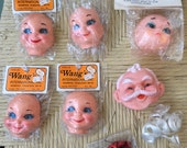 Lot of 6 Vintage Doll Faces Wang's International Plastic Half Heads Rubber Santa Face + Curly White Hair Wire Eyeglasses, Red Embellishments