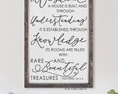 By Wisdom a House is Built |Scripture Sign | Proverbs 24:3-4 | Wood Wall Art | Christmas Gift| Distressed Sign| Living Room Decor | Large