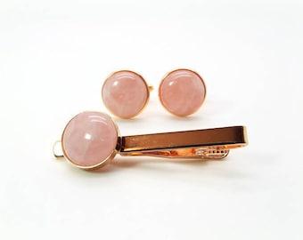 Rustic Rose Gold – Rose Quartz Cufflinks and Tie Clip Set - Pink Cufflinks and Tie Clip Set