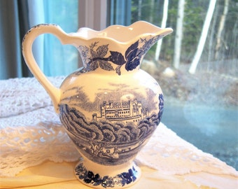 Vintage Blue & White Transfer Ware Pitcher Vase 1940s / English Countryside Castle Pastoral Picnic Floral / China Porcelain Decor