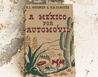 1942 MEXICO ROAD TRIP Vintage Grid Lined Travel Notebook Journal