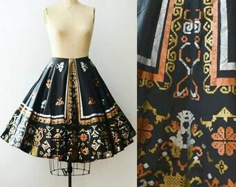 Vintage 1950's Metallic Painted Circle Skirt