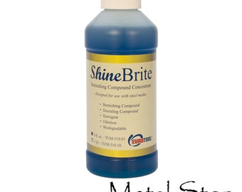 Shinebrite Burnishing Compound Polishing Descaling CONCENTRATE for rotary jewelry tumblers. Mix with water. 8 oz bottle makes FOUR gallons