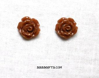 Milk Chocolate Brown Rose Earrings 10mm Stud Earrings Surgical Steel Posts Acrylic