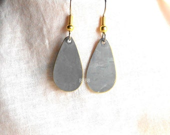 Matte Gray Teardrop Earrings ................................ Painted Over Brass with Surgical Steel French Hooks Gold ball and Coil
