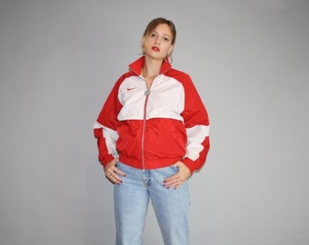 1990s Graphic Nike Red and White Colorblock Urban Hip Hop Nylon Windbreaker Jacket - Vintage Nike Jacket - Vintage Nike Windbreaker - W00048