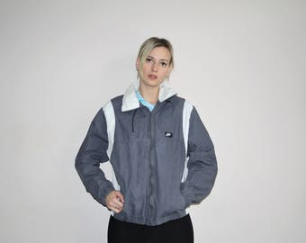 1990s Vintage Gray Colorblock Hip Hop Bomber Windbreaker Jacket - Vintage Nike Jackets - 90s Clothing - WV0283