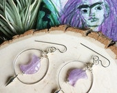 Moon earrings, Amethyst crescent moon drop earrings, moon and spike earrings