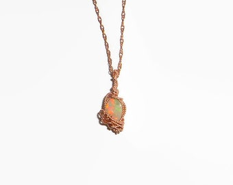 0.83ct. Wire Wrapped Australian Lightning Ridge Opal Necklace & Pendant 14K Rolled Rose Gold