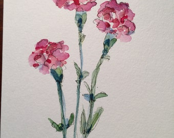 Three Pink Carnations  Watercolor Card / Hand Painted Watercolor Card