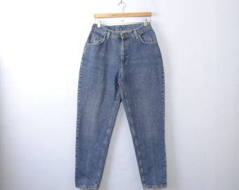 Vintage 80's high waisted jeans, mom jeans, blue denim, tapered leg, size 12 / 10