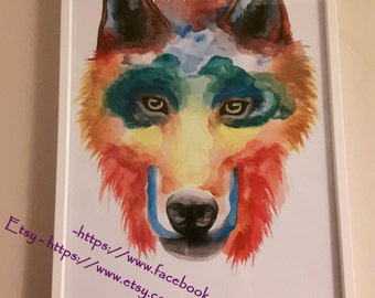 Print of wonderful wolf in watercolours - A4 framed