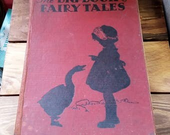 Vintage Book The Big Book of Fairy Tales 1929 Whitman Publishing 20's Art Deco Illustration Paper Ephemera Mixed Media Supply