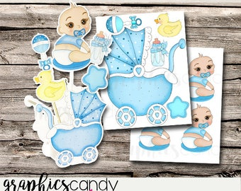 Baby Carriage - Stroller - Buggy - Baby Shower -  Party Favor Boxes - Shower Centerpiece - DIY - Printable - Digital File