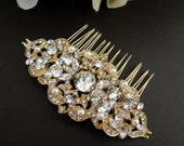 Swarovski Crystal and Pearl Wedding Comb,Wedding Hair Accessories,Vintage Style Flower and Leaf Rhinestone Bridal Hair Comb,Art Deco,ALLY