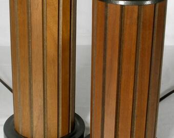 Vintage pair Mid Century Teak lamps rewired retro lighting