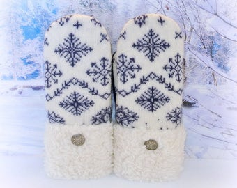 Nordic Mittens Winter White & Blue 100% Wool Fur Cuffed Women's Recycled Sweater Mittens