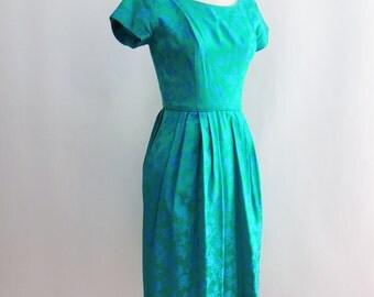 1950's 1960's Emerald Green and Blue Silk Brocade Wiggle Dress