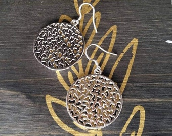 Large Round Silver Dangle Earrings - Womens Fashion Accessories - Gifts for Mom - Gifts for Grads