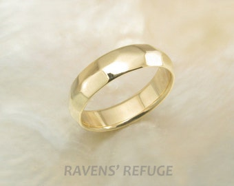 6mm organic mans wedding band -- faceted ring in 14k yellow gold, comfort fit