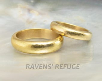 rustic wedding bands -- his and hers wedding rings, hand forged in 18k gold