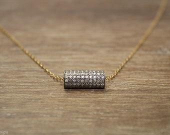 Pave Diamond Necklace, Diamond Barrel, Mixed Metals, Genuine Diamonds,