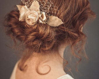 Wedding hair flower - Bridal hair piece - Champagne hair flowers - Rustic wedding hairpiece