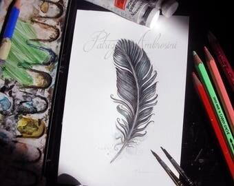 Handpainted, Original 4x6, Watercolour, Feather Study No.50. NOT A PRINT , crow, Original Painting, fine art-