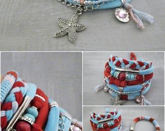 Bohemian Bracelet Red and Turquoise, Starfish Gypsy Bracelet, Set of Boho Bracelets Gypsy Jewelry, Hippie Style Multi Layer Bracelet