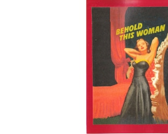 Collage Card - Behold This Woman - Fix Eyes Upon - Blank Card Inside - Unusual
