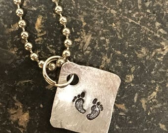 PRIORITY SHIPPING Tiny Hand Cut Metal Stamped Baby Feet Pendant Charm